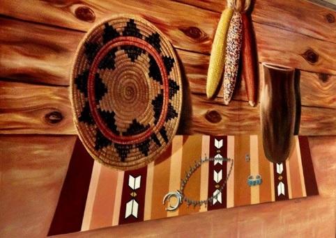 navajo basket and rug at TCRHCC